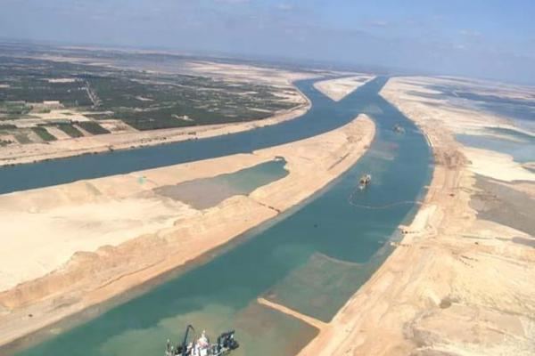 The Suez Canal, one of the world's most heavily used shipping lanes.